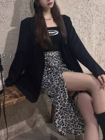 Fashion suit Autumn 2020 S, M Black suit, black suspender, leopard skirt 18-25 years old Other / other 0922M polyester fiber