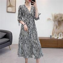 Dress Summer 2020 As shown in the figure S,M,L,XL,2XL Mid length dress singleton  elbow sleeve V-neck High waist stripe Socket Sennag 31% (inclusive) - 50% (inclusive) Cellulose acetate