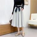 skirt Winter 2020 Average size Green, grey, coffee, light grey, green (no belt), grey (no belt) Mid length dress High waist A-line skirt Solid color 31% (inclusive) - 50% (inclusive) Sennag