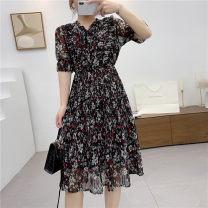 Dress Summer 2020 As shown in the figure S,M,L Mid length dress singleton  Short sleeve V-neck High waist Decor Socket Pleated skirt Sennag 31% (inclusive) - 50% (inclusive)