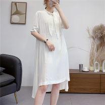 Dress Summer 2020 White, black, beige Average size Mid length dress singleton  Short sleeve Loose waist Solid color Sennag 31% (inclusive) - 50% (inclusive) cotton