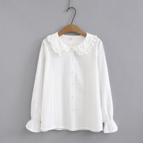 shirt white Other / other female S80-90kg, m90-105kg, l105-115kg spring and autumn Long sleeves college Solid color cotton Cotton 65% polyester 35% Class A