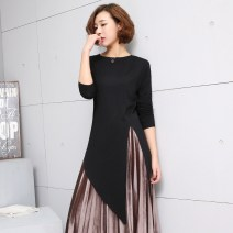 Women's large Autumn 2020 S chest 96 is suitable for 110 kg, m chest 106 is suitable for 135 kg, l chest 116 is suitable for 165 kg T-shirt singleton  street Straight cylinder moderate Socket Long sleeves Solid color Crew neck Medium length modal  Three dimensional cutting routine Han Yingxin other