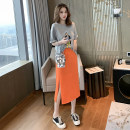 Fashion suit Summer 2020 S M L XL Grey T-shirt + orange skirt suit white T-shirt + pink skirt suit 18-25 years old Fayiqi IBAA63394 96% and above Other 100% Pure e-commerce (online only)