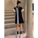 Dress Summer 2020 M L XL 2XL Mid length dress singleton  Short sleeve commute Polo collar Loose waist Solid color Single breasted A-line skirt raglan sleeve Others 18-24 years old Type A Fayiqi Korean version YHFA69822 More than 95% other other Other 100% Pure e-commerce (online only)