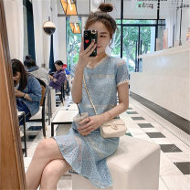 shirt Blue Black Beige S M L XL Summer 2021 other 96% and above Short sleeve commute Medium length Crew neck Socket routine Solid color 18-24 years old Fayiqi Korean version Cut out lace with ruffle Other 100% Pure e-commerce (online only) Lace