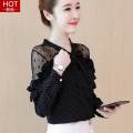 Lace / Chiffon Spring of 2019 Black, white, black [skirt] S,M,L,XL,2XL Long sleeves commute Socket singleton  easy Regular V-neck Dot bishop sleeve 25-29 years old S484 Bow, ruffle, lace Korean version 81% (inclusive) - 90% (inclusive) polyester fiber