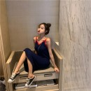 Dress Summer 2020 Navy Blue Average size Mid length dress singleton  Sleeveless commute V-neck High waist other Socket One pace skirt other camisole 18-24 years old Type H Qingqing leisurely Korean version More than 95% other other New polyester fiber 100.00% Pure e-commerce (online only)