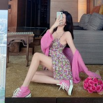 Dress Summer 2020 Floral suspender skirt plum powder cardigan S M L average code Short skirt Two piece set Sleeveless commute One word collar High waist Decor Socket A-line skirt other camisole 18-24 years old Type A Qingqing leisurely Korean version More than 95% other other