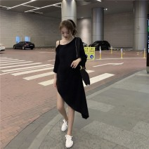 Dress Summer of 2019 Average size Mid length dress singleton  Long sleeves commute One word collar High waist Solid color Socket Irregular skirt routine camisole 18-24 years old Qingqing leisurely Korean version 51% (inclusive) - 70% (inclusive) cotton Cotton 66.3% polyester 33.7%