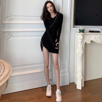 Dress Winter of 2019 black Average size Short skirt singleton  Long sleeves commute V-neck High waist other Socket One pace skirt routine Others 18-24 years old Type H Qingqing leisurely Korean version More than 95% other other New polyester fiber 100% Pure e-commerce (online only)