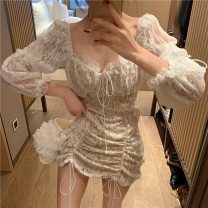 Dress Winter of 2019 white S M L Short skirt singleton  Long sleeves commute square neck High waist Solid color Socket A-line skirt other Others 18-24 years old Type A Qingqing leisurely Korean version CSUwja More than 95% other other New polyester fiber 100.00% Pure e-commerce (online only)