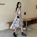 Dress Summer 2021 Broken flowers Average size longuette singleton  Sleeveless commute V-neck High waist Decor Socket A-line skirt routine camisole 18-24 years old Type A Qingqing leisurely Korean version printing Green 526 More than 95% Chiffon other Other 100%