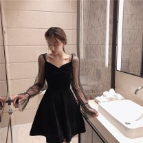 Dress Autumn of 2019 black S M Short skirt singleton  Long sleeves commute V-neck High waist Solid color Socket A-line skirt other Others 18-24 years old Type A Beiziyu Korean version 51% (inclusive) - 70% (inclusive) other polyester fiber Polyester 65% other 35% Pure e-commerce (online only)