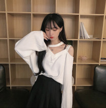 T-shirt 2255 white 2255 black 2255 gray M L XL XXL Autumn 2020 Long sleeves V-neck easy Regular routine commute cotton 96% and above 18-24 years old Korean version youth Solid color stitching Bbminor  BFN 2255 Splicing and hollowing out Cotton 100% Pure e-commerce (online only)