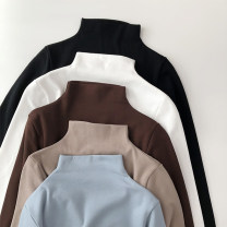 T-shirt M L XL XXL Winter of 2018 Long sleeves Half high collar Self cultivation Regular routine commute polyester fiber 86% (inclusive) -95% (inclusive) 18-24 years old Simplicity youth Solid color stitching Bbminor  BFN254-1 Splicing Polyester 95% polyurethane elastic fiber (spandex) 5%