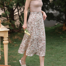 skirt Summer 2021 S M L Pink grey green Mid length dress commute High waist A-line skirt Decor Type A 25-29 years old More than 95% Chiffon Autumn Narcissus polyester fiber printing Korean version Polyester 100% Pure e-commerce (online only)