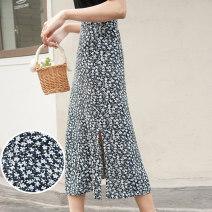skirt Summer 2021 S M L XL Black (85CM) black (90cm) longuette commute High waist A-line skirt Broken flowers Type A 25-29 years old Chiffon Autumn Narcissus printing
