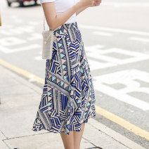 skirt Summer of 2019 Average size Picture color Mid length dress Versatile High waist A-line skirt Abstract pattern Type A 25-29 years old More than 95% Chiffon Autumn Narcissus polyester fiber Bandage printing Polyester 100% Exclusive payment of tmall