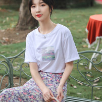 T-shirt white S M L XL XXL Summer 2021 Short sleeve Crew neck easy Regular routine commute cotton 86% (inclusive) -95% (inclusive) 18-24 years old Korean version youth letter Autumn Narcissus printing Cotton 95% polyurethane elastic fiber (spandex) 5% Pure e-commerce (online only)