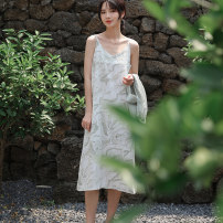 Dress Summer 2021 Bean green light coffee S M longuette singleton  Sleeveless commute V-neck Loose waist Decor Socket A-line skirt routine camisole 25-29 years old Type A Autumn Narcissus Korean version printing N0021003 More than 95% Chiffon polyester fiber Polyester 100%