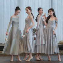 Dress / evening wear Wedding, adulthood, party, company annual meeting, performance, routine, appointment S. M, l, average size Silver yarn (one size), silver bell, galaxy, silver stone Retro Medium length middle-waisted Winter of 2019 One shoulder zipper Chemical fiber Chiffon 18-25 years old