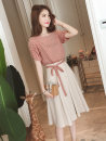 Dress Summer of 2019 Blue yellow red S M L XL Mid length dress Short sleeve commute Crew neck High waist Socket A-line skirt other Others 18-24 years old Poetry remembers imperial concubine Korean version More than 95% other Other 100% Pure e-commerce (online only)