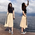 Dress Summer of 2019 S M L XL Mid length dress Two piece set Short sleeve Sweet Crew neck High waist Solid color Socket Irregular skirt routine Others 18-24 years old Poetry remembers imperial concubine Pocket lace up stitching More than 95% other Other 100% Mori Pure e-commerce (online only)
