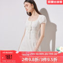 Dress Spring 2021 white S M L Short skirt singleton  Short sleeve commute square neck High waist A-line skirt other Others 18-24 years old Green Guli T2-F19DR4315-1 More than 95% cotton Cotton 100% Exclusive payment of tmall