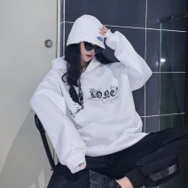 Sweater / sweater Winter 2020 White black M L XL XXL Long sleeves Medium length Socket singleton  Plush Hood easy street routine 18-24 years old 96% and above Spinning cool polyester fiber 2020.11.24 printing Cotton liner Polyester 100% Pure e-commerce (online only) Hip hop