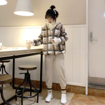 Fashion suit Winter of 2019 M L XL XXL [suit] coffee plaid sweater + apricot trousers [suit] green plaid sweater + dark grey trousers [single piece] coffee plaid sweater [single piece] green plaid sweater [single piece] apricot woolen trousers [single piece] dark grey woolen trousers 18-25 years old