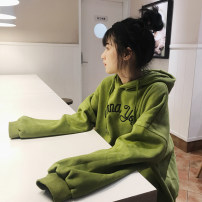 Sweater / sweater Winter of 2019 Matcha green grey M L XL XXL Long sleeves routine Socket singleton  Plush Hood Bat type commute routine letter 18-24 years old Spinning cool Retro 066-3 Embroidered pocket Cotton liner Pure e-commerce (online only)