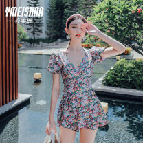 one piece  Yi Meishan M L XL Decor One piece flat corner swimsuit With chest pad without steel support spandex YMS209375 Spring 2021 no female Short sleeve Casual swimsuit backless