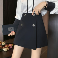 skirt Spring 2021 S,M,L,XL White, black Short skirt commute High waist A-line skirt Solid color Type A 25-29 years old 31% (inclusive) - 50% (inclusive) Other / other Button Korean version