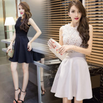 Dress / evening wear Wedding, adulthood, party, company annual meeting, performance, routine, appointment Gray, black Short skirt middle-waisted A-line skirt zipper Water soluble lace Sleeveless Solid color routine