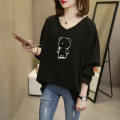 Women's large Summer 2020 L recommendation 90-140 kg XL recommendation 140-160 kg 2XL recommendation 161-190 kg 3XL recommendation 191-230 kg 4XL recommendation 231-300 kg T-shirt singleton  commute easy moderate Socket Long sleeves Korean version V-neck routine cotton routine 2306# Chic face
