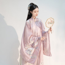 National costume / stage costume Summer of 2019 Green vertical Collar Shirt PINK vertical collar shirt lower skirt main waist S M L XL L3BSFLY41 Flowing smoke and chills Polyethylene terephthalate (polyester) 100%
