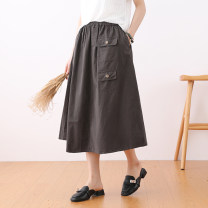 skirt Summer 2021 Average size Black, white, gray, khaki, dark blue Mid length dress commute High waist Solid color 25-29 years old More than 95% cotton literature