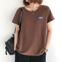 T-shirt Black, white, dark blue, dark coffee Average size Summer 2021 Short sleeve Crew neck easy Regular routine commute cotton 96% and above 25-29 years old literature literature
