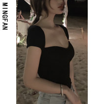 T-shirt White black S M L XL Summer 2020 Short sleeve square neck Self cultivation have cash less than that is registered in the accounts routine commute other 96% and above 18-24 years old Korean version classic Solid color Famous model (clothing) QQ6016 Other 100% Pure e-commerce (online only)