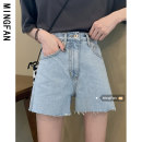 Jeans Summer 2021 wathet S M L shorts High waist Straight pants Thin money 18-24 years old Wash to make old metal decorative Multi Pocket light colour MFA9060 Famous model (clothing) Other 100% Pure e-commerce (online only)