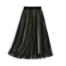 skirt Autumn 2020 Average size Black, dark grey, khaki, greyish green longuette Versatile High waist Pleated skirt Solid color Type A R090907 91% (inclusive) - 95% (inclusive) Rothaes / Lohans polyester fiber Gauze, bright star