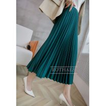 skirt Autumn 2020 S code (suitable for 26), M code (suitable for 27), l code (suitable for 28) Black, purple, beige, pink, bronze, butter, forest green Mid length dress commute High waist Pleated skirt Solid color Type A R090509 81% (inclusive) - 90% (inclusive) Rothaes / Lohans polyester fiber