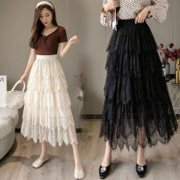 skirt Spring 2021 Average size Black apricot longuette Versatile High waist Cake skirt Solid color Type A 25-29 years old More than 95% other Mori jiaoting other Lace Other 100%