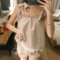 Pajamas / housewear set female Other / other Average size other camisole Simplicity Living clothes summer routine lattice shorts Tether youth 2 pieces rubber string