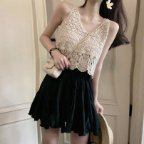 skirt Summer of 2019 Average size Short skirt Versatile High waist A-line skirt Solid color Type A 18-24 years old Lotus leaf edge