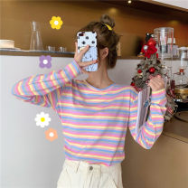 T-shirt Rainbow Stripe M L XL XXL Autumn of 2019 Long sleeves Crew neck easy Regular routine commute polyester fiber 86% (inclusive) -95% (inclusive) 18-24 years old Korean version youth Jiafei's Poems Polyester 95% polyurethane elastic fiber (spandex) 5% Pure e-commerce (online only)