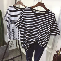 T-shirt Black and white M L XL XXL Summer of 2018 Short sleeve Crew neck easy Regular routine Sweet polyester fiber 86% (inclusive) -95% (inclusive) youth Thick horizontal stripe fine horizontal stripe solid color mosaic Jiafei's Poems Splicing Polyester 95% polyurethane elastic fiber (spandex) 5%