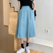 skirt Summer 2021 S M L XL Blue white black Middle-skirt commute High waist A-line skirt Solid color Type A 18-24 years old MSL158196628 91% (inclusive) - 95% (inclusive) brocade Meishili cotton pocket Simplicity Cotton 95% other 5% Pure e-commerce (online only)