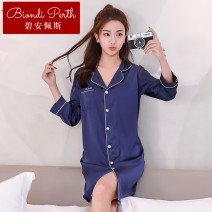 Nightdress Biamper White bean paste, Navy grey green 165(L) 170(XL) 175(XXL) sexy Nine point sleeve pajamas Middle-skirt summer Solid color youth Shirt collar Iced silk Button decoration More than 95% other EFLQ069I9 200g and below Autumn of 2018 Other 100.00% Other 100.00%